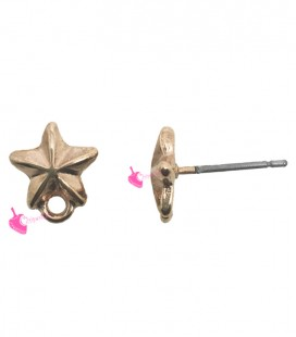 Perni per Orecchini Stellina con Anellino colore Oro Rosa (1 paio)