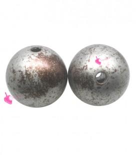 Perla Tonda Resina 18 mm Argento e Bronzo