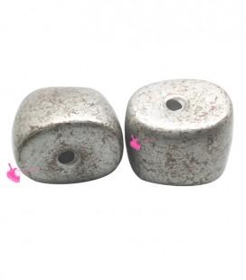 Perla Irregolare Resina 21x27 mm Argento e Bronzo
