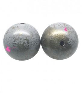 Perla Tonda Resina 18 mm Grigio e Oro
