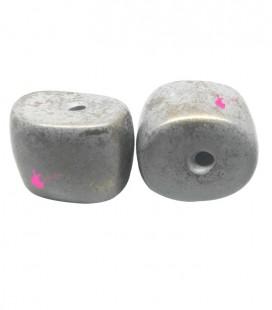 Perla Irregolare Resina 21x27 mm Grigio e Oro