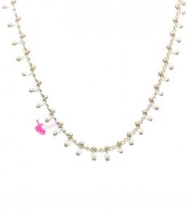 Catena con Perline Bianche Oro Opaco (50 cm)