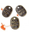 "Ciondolo ""Made with Love"" 11x8 mm Bronzo Antico (100 pezzi)"