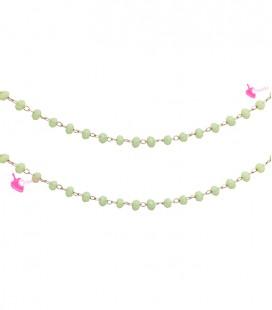 Catena Rosario con Cristalli 3x2 mm Verde Opale (49-50 cm)
