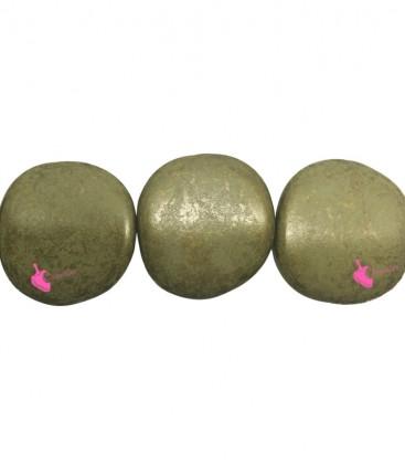 Perla Piatta Resina 37x39 mm Verde e Oro Metallizzato