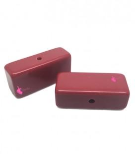 Perla Rettangolare Resina 16x35 mm Rosso Scuro