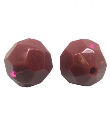 Perla Sfaccettata Resina 30x29 mm Rosso Scuro