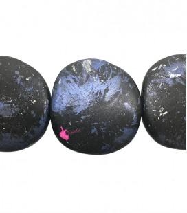 Perla Piatta Grande Resina 59x62 mm Blu Scuro e Azzurro Metallizzato