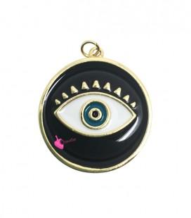 Ciondolo Medaglia Smaltata con Occhio Turco 28 mm