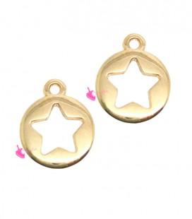 Ciondolo Medaglia con Stella Forata 13x10 mm colore Oro