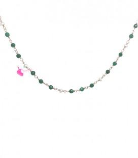 Catena Rosario Onice Verde e Perle Acqua Dolce 3 mm Argento 925 Oro Rosa (50 cm)