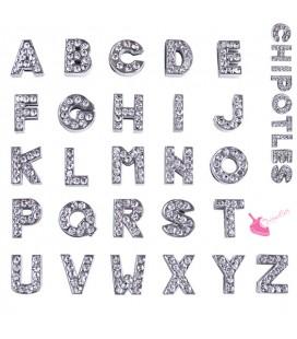 Perla Lettera Alfabeto con Strass per Cinturino, nastro, cordoncino (Ø 8,2x1,9 mm)