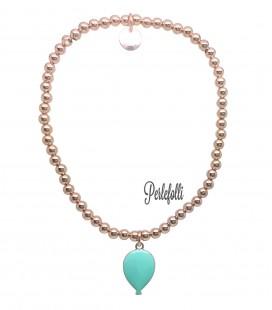 Bracciale Palline Palloncino Verde Menta Argento 925 Rosé