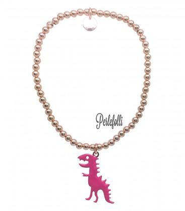 Bracciale Palline Dinosauro Fucsia Argento 925 Rosé
