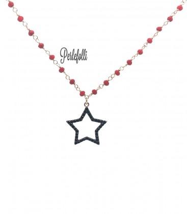 Collana Stella con Zirconi Neri Argento 925 Rosé