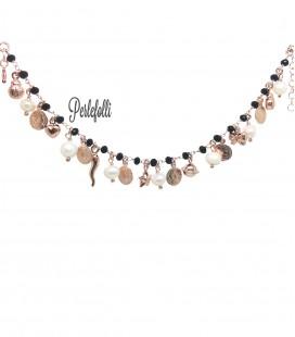 Bracciale con Perle Ciondoli Monete Argento 925 Rosé