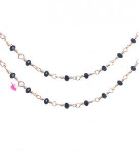 Catena Rosario con Rondelle Ematite 3 mm Mezzo Cristallo colore Oro Rosa (1 metro)