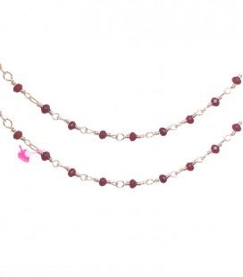 Catena Rosario con Rondelle Rosse 3 mm Mezzo Cristallo colore Oro Rosa
