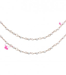 Catena Rosario con Perline Bianche 3 mm Mezzo Cristallo colore Oro Rosa