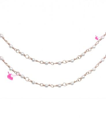 Catena Rosario con Perline Bianche 3 mm Mezzo Cristallo colore Oro Rosa (1 metro)