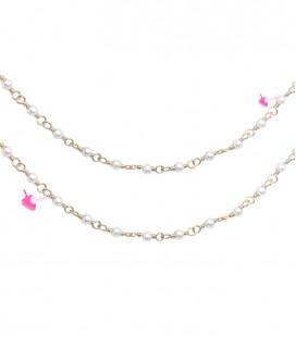 Catena Rosario con Perline Bianche 3 mm Mezzo Cristallo colore Oro
