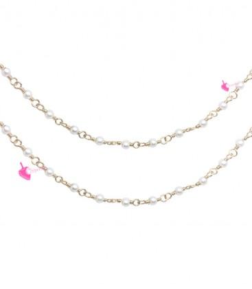 Catena Rosario con Perline Bianche 3 mm Mezzo Cristallo colore Oro (1 metro)