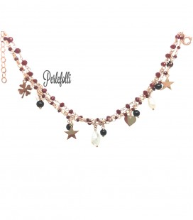 Bracciale 3 Fili con Ciondoli e Perle Argento 925 Rosé