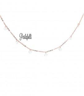 Collana con Zirconi Bianchi Argento 925 Rosé