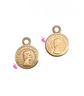 Ciondolo Moneta 8 mm colore Oro Rosa