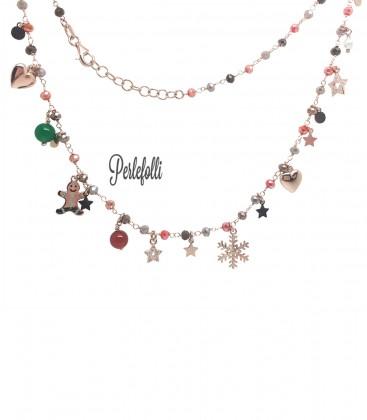 Collana Rosario con Pan di Zenzero, Fiocco di Neve, Cuore Argento 925 Rosé