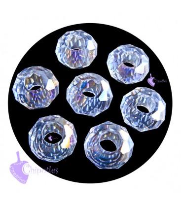 Perla Rondella Foro Largo 14x8 mm Crystal AB