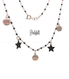 Collana Rosario con Monete e Stelle Nere Argento 925 Rosé