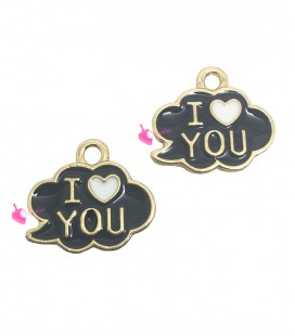 Ciondolo Nuvoletta Smaltata Grigia I Love You 13x15 mm