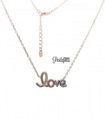Collana Love con Zirconi Colorati Argento 925 Rosé
