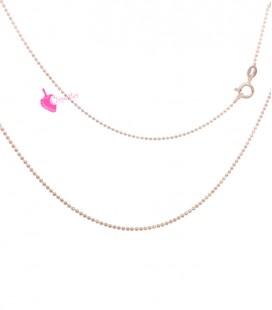 Collana Palline Diamantata 1,2 mm Lunghezza 45 cm Argento 925 Oro Rosa