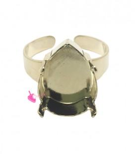 Base Anello con Castone a Goccia per SWAROVSKI® 4320 18x13 mm colore Oro