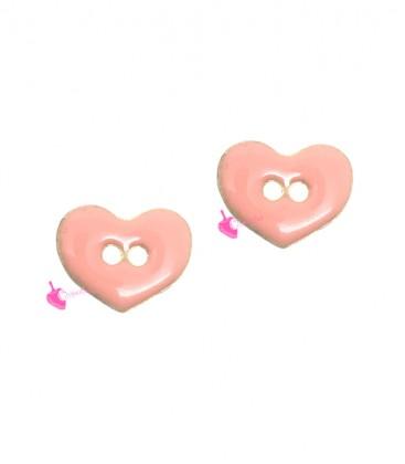 Ciondolo Connettore Cuore Smaltato 11x9 mm colore Rosa