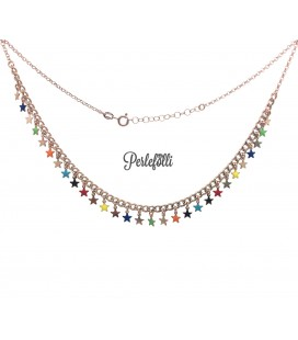 Collana Groumette con Stelline Colorate Argento 925 Rosé