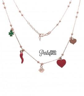 Collana Luck con Ciondoli Portafortuna Argento 925 Rosé
