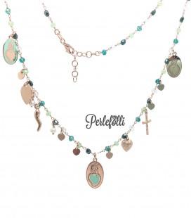 Collana Cuore Sacro con Pietre Verdi Argento 925 Rosé