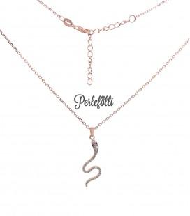 Collana Serpente Zirconi Bianchi Argento 925 Rosé