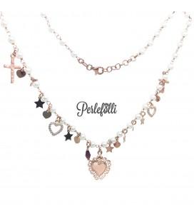 Collana Cuore Sacro con Perline Argento 925 Rosé