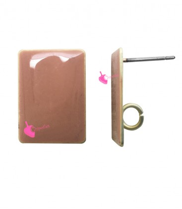 Perni per Orecchini Rettangolo Smaltato 17x13 mm Rosa (1 paio)