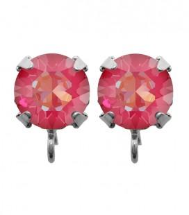 Base Orecchini a Perno con Chaton Swarovski Crystal Pink Delite SS39 8 mm
