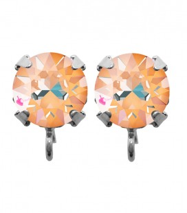 Base Orecchini a Perno con Chaton Swarovski Crystal Orange Glow Delite SS39 8 mm