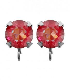 Base Orecchini a Perno con Chaton Swarovski Crystal Royal Red Delite SS39 8 mm
