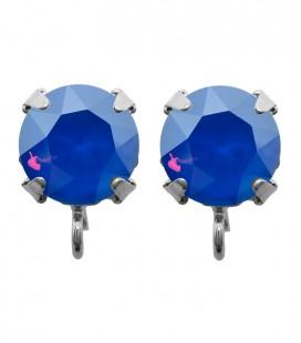 Base Orecchini a Perno con Chaton Swarovski Crystal Royal Blue Delite SS39 8 mm