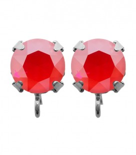 Base Orecchini a Perno con Chaton Swarovski Crystal Royal Red Delite SS39 8 mm