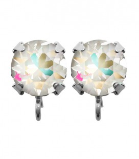Base Orecchini a Perno con Chaton Swarovski Crystal Light Grey Delite SS39 8 mm