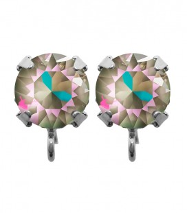 Base Orecchini a Perno con Chaton Swarovski Army Green Grey Delite SS39 8 mm
